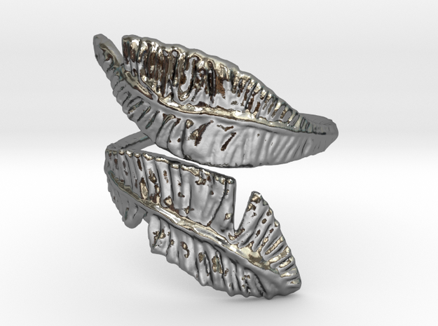Karens curley feather in Polished Silver: 10 / 61.5