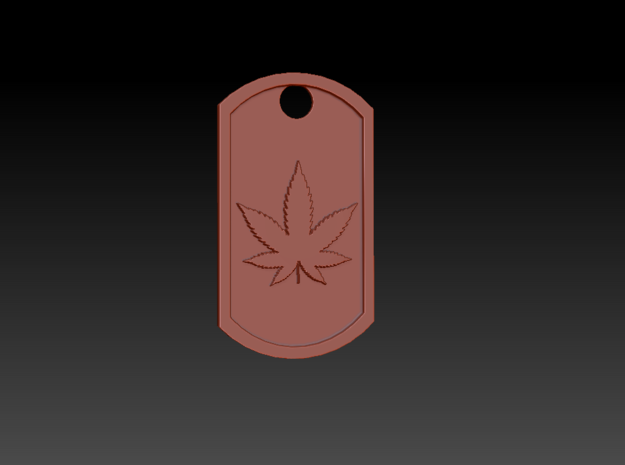 Weed/Marijuana Themed Dog Tag in Green Processed Versatile Plastic