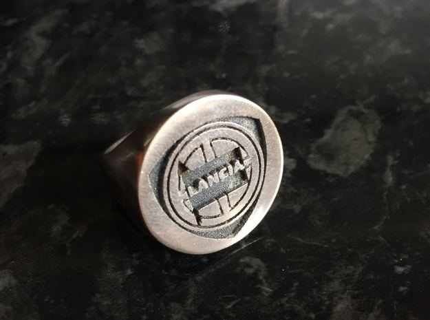Lancia College Ring inverted V2 in Antique Silver