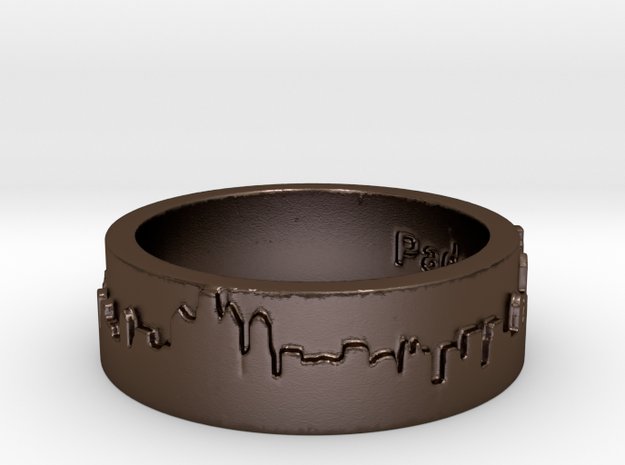 Philadelphia Skyline Ring in Polished Bronze Steel
