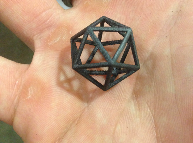 Icosahedron Pendant in Matte Black Steel