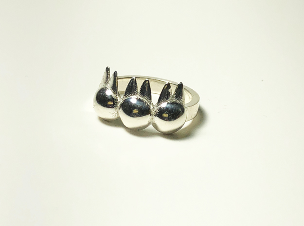 3 Little Bunnies Ring Size 5.5 in Polished Silver