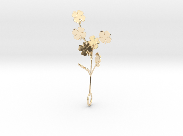 Clovers Branch Pendant in 14K Yellow Gold