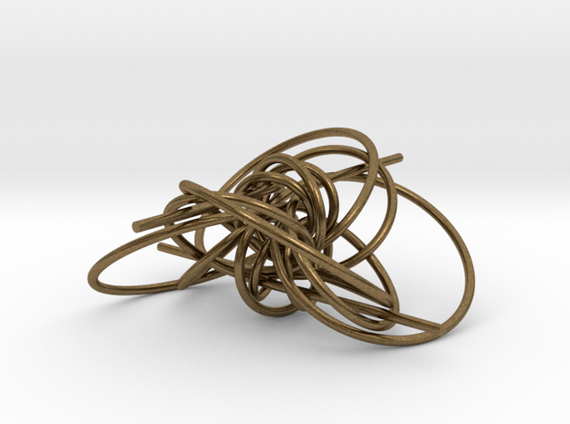 pendant p c geodesics through origine interlocked in Natural Bronze (Interlocking Parts)