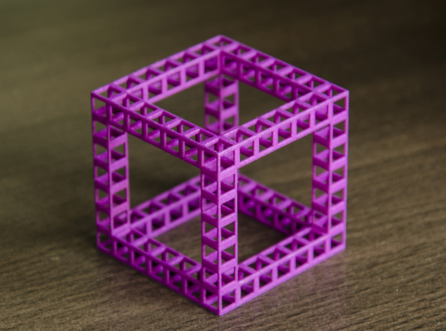 Eponge de Menger de degré 7 in Purple Strong & Flexible Polished