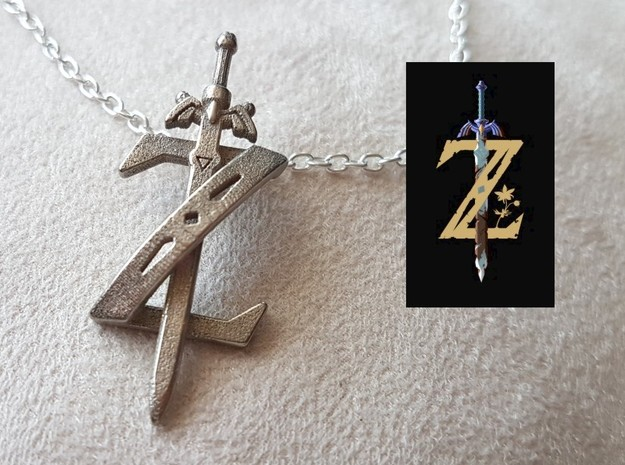 Zelda Breath Of The Wild in Polished Nickel Steel