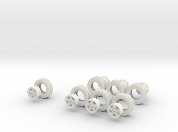 1/32 MYCO trailer wheels and HiSpec rims in White Natural Versatile Plastic
