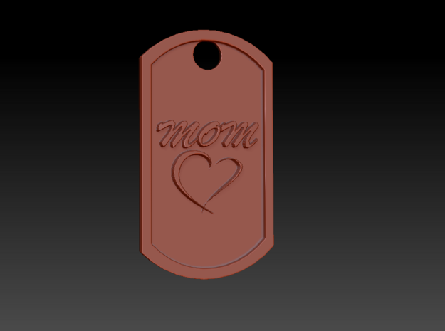 'Mom' Mother's Day Heart Dog Tag in Polished Bronzed Silver Steel