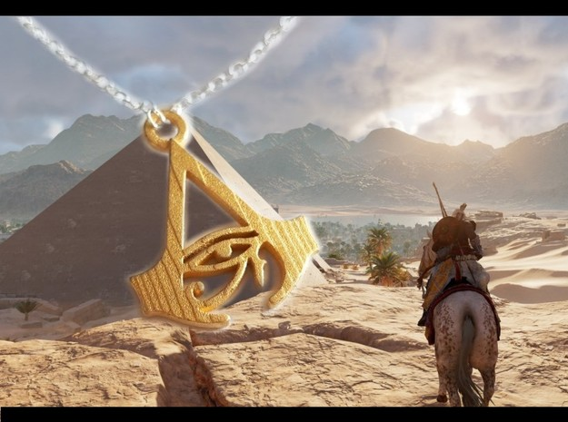 Assassin's Creed Origins Pendant in Polished Gold Steel