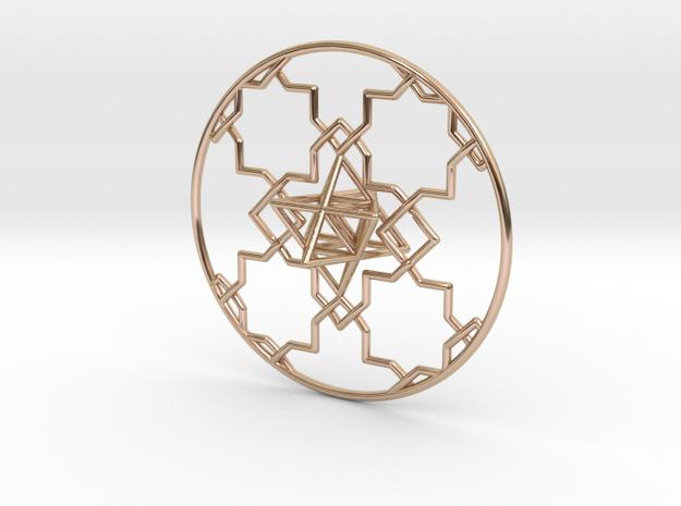 Merkaba Pendant in 14k Rose Gold Plated Brass