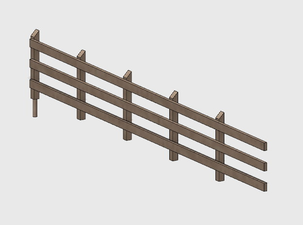 Wood Rail Fence - 5L (2 ea.) in White Natural Versatile Plastic: 1:87 - HO