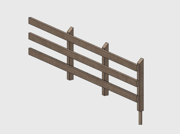Wood Rail Fence - 3R (2 ea.) in White Natural Versatile Plastic: 1:87 - HO