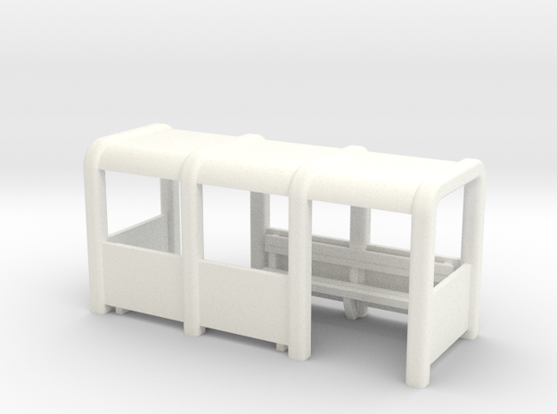 OO Gauge Platform/Bus Shelter in White Processed Versatile Plastic