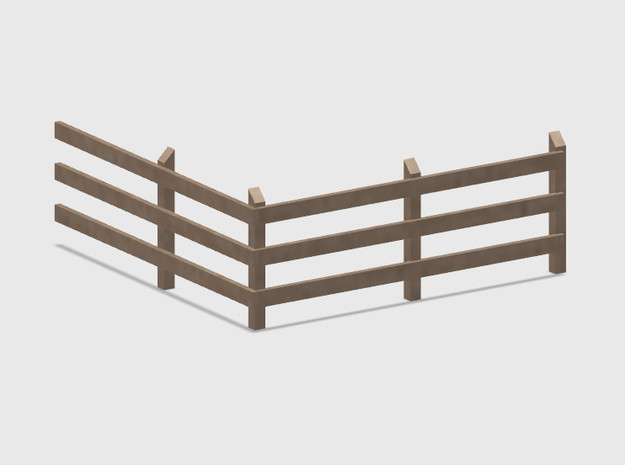 Wood Rail Fence - R/Out Corner (2 ea.) in White Natural Versatile Plastic: 1:87 - HO
