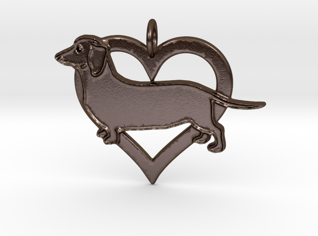 Daschund lovers pendant in Polished Bronze Steel