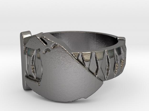 Sword in Hand Ring (Metal) in Polished Nickel Steel: 5 / 49