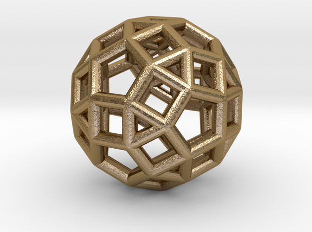 "Rhombicosidodecahedron Steel 1"" in Polished Gold Steel"