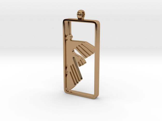 Nazca Lines Pendant, Condor in Polished Brass