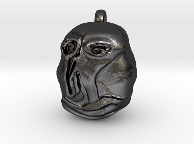 """""""Hello"""" Carving Earring (Dark Souls) in Polished and Bronzed Black Steel: Small"""