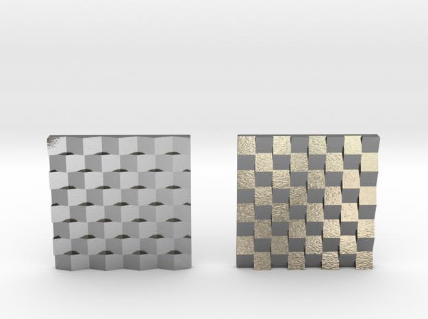 Chessboard Earrings in Polished Silver: Medium
