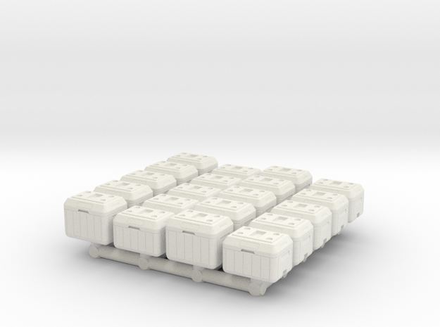 1/87 Scale Cooler Chests in White Natural Versatile Plastic