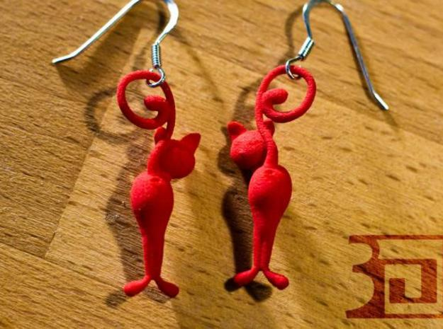 Kitten earrings looking back 3d printed Red strong and flexible