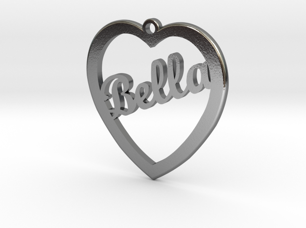 Bella Name Charm in Polished Silver