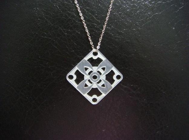 Square Pendant or Charm - Four Petal Flower 3d printed FUD - Chain not included