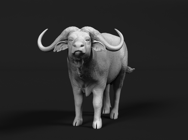 Cape Buffalo 1:48 Standing Male 2 in White Natural Versatile Plastic