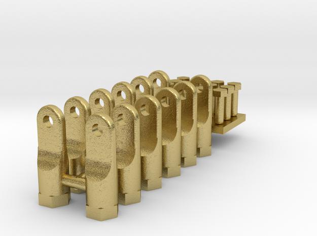 12 Embouts males pour tringles de commande in Natural Brass
