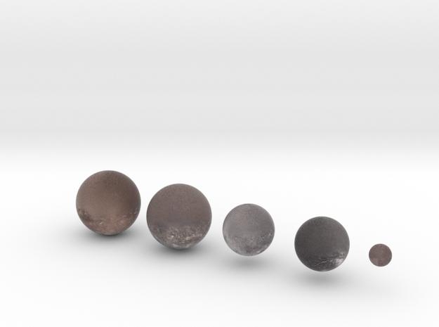 5 Moons of Uranus set 1:150 million in Natural Full Color Sandstone