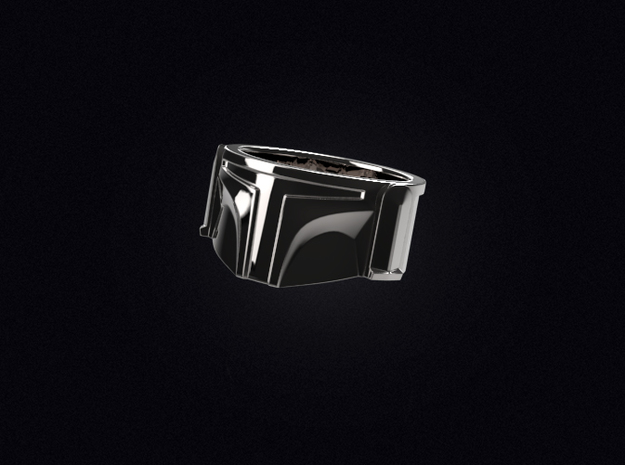 Bounty Hunter Helmet Ring in Polished Silver