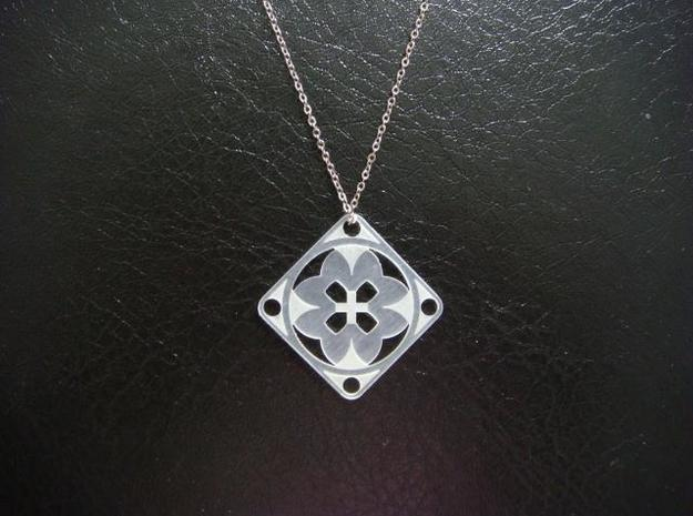 Square Pendant or Charm - Eight Petals Crossed 3d printed FUD - Chain not included