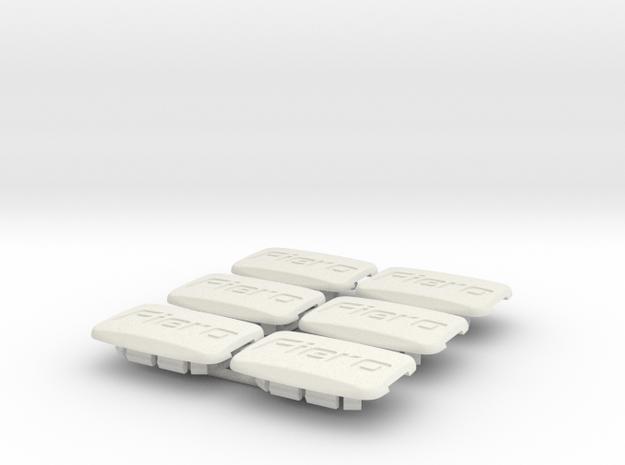 Pontiac Fiero Taillight Screw Cover Logo 6-set in White Natural Versatile Plastic