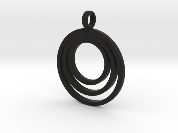 Circle Necklace_3 rings_1 inch v1 in Black Natural Versatile Plastic: Medium