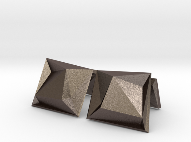 Origami Cufflinks in Polished Bronzed Silver Steel