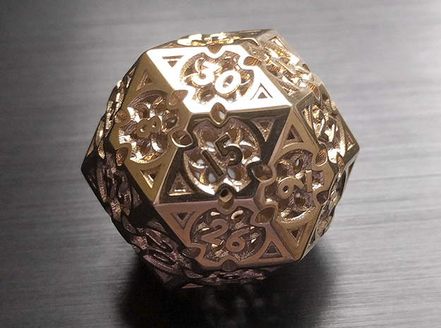 Gothic Rosette Die30 in Polished Brass