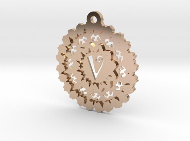 Magic Letter V Pendant in 14k Rose Gold Plated Brass