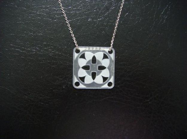 Square Pendant or Charm - Four Fountains 3d printed FUD - Chain not included
