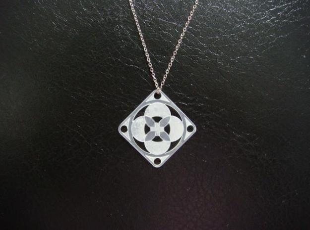 Square Pendant or Charm - Four Petals Bound in Natural Silver