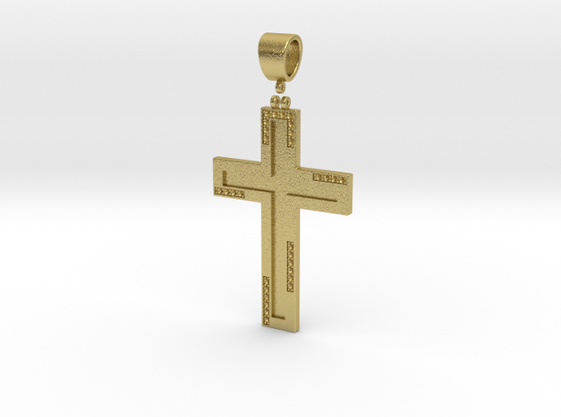 Cross with diamond in Natural Brass