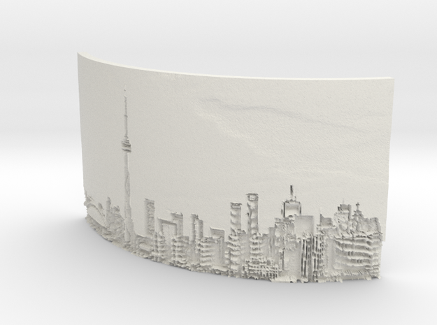 The City Curved lithophane in White Natural Versatile Plastic