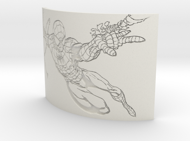 Spiderman Curved Lithophane in White Natural Versatile Plastic
