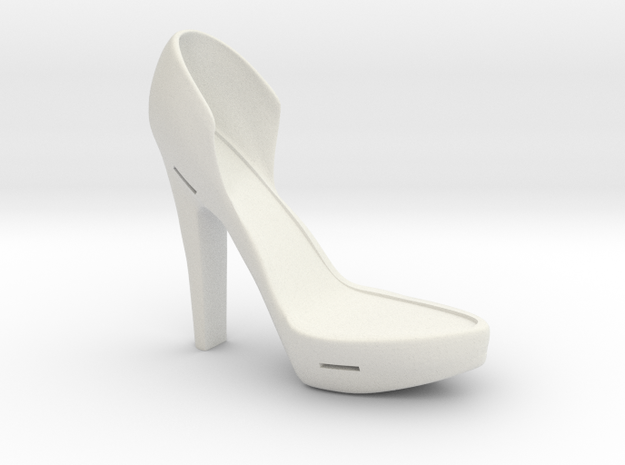 Right Leather-Strap High Heel in White Natural Versatile Plastic