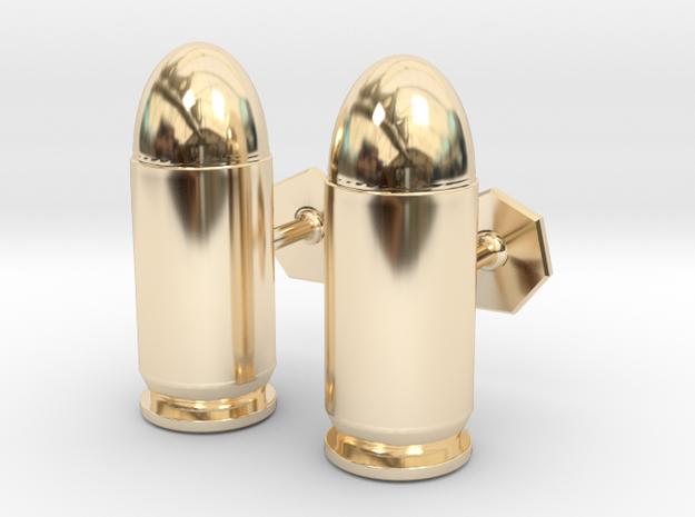 45 ACP Cartridge Cufflinks in 14k Gold Plated Brass