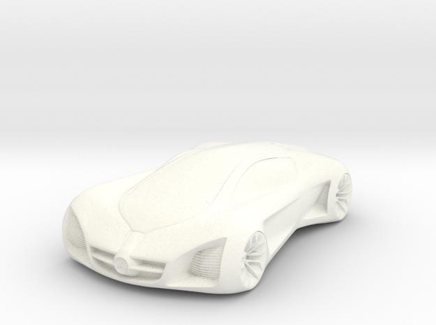 3D Printed Concept Car in White Processed Versatile Plastic