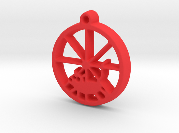 Gerbil Wheel Pendant in Red Processed Versatile Plastic