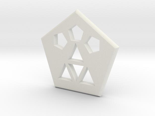 Logo Medallion in White Natural Versatile Plastic
