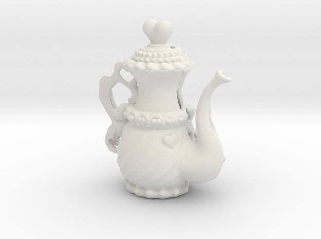 Elegant Cyber TeaPot in White Natural Versatile Plastic