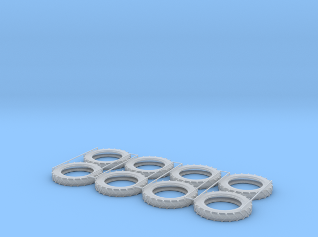 1:87 HO Pneumatic Tractor Tires 4 sets in Smooth Fine Detail Plastic